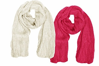 Cream & Fuchsia Warm and Cozy Unisex Chunky Hand Knit Long Scarf (2 Pack)