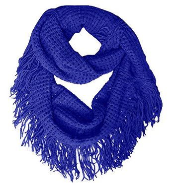 Blue Warm and Soft Fashionable Checkered Fringe Infinity Loop Scarf