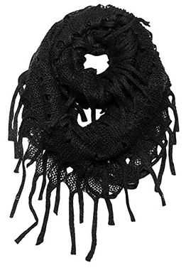 Bohemian Crochet Hand Knitted Fringe Infinity Loop Scarf Wrap