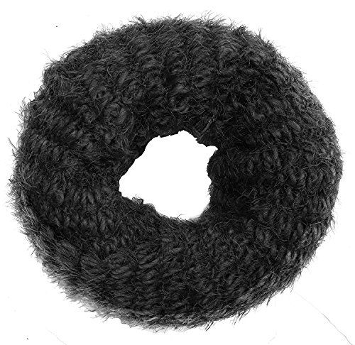 Peach Couture Warm Cozy Fuzzy Chunky Knit Winter Infinity Scarves Black Black