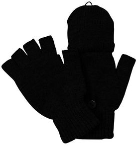 Black Warm Insulating Convertible Gloves Mittens For Easy Smartphone Texting (One Size)