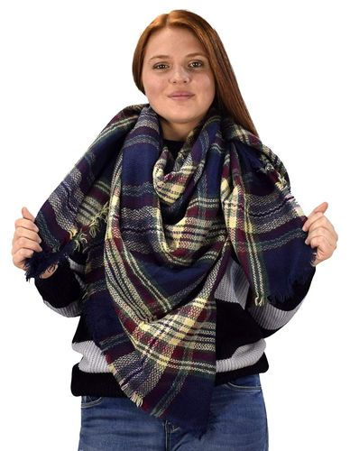 Peach Couture Warm Tartan Plaid Woven Oversized Fringe Scarf Blanket Shawl Wrap Brown Navy