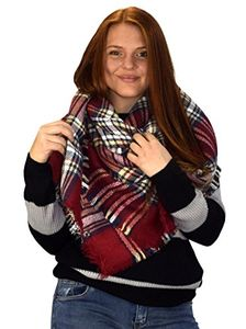 Cherry Red Warm Tartan Plaid Woven Oversized Fringe Scarf Blanket Shawl Wrap