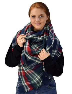 Peach Couture Warm Tartan Plaid Woven Oversized Fringe Scarf Blanket Shawl Wrap Red Green