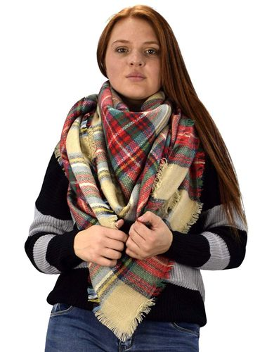 Peach Couture Warm Tartan Plaid Woven Oversized Fringe Scarf Blanket Shawl Wrap Tan
