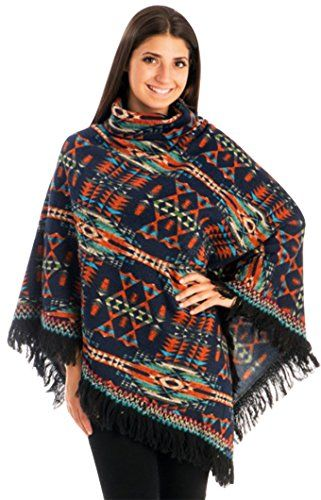 Navy Warm Turtleneck Tribal Knit Fringe Wrap Shawl Poncho