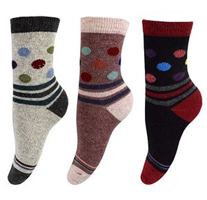 Warm Vintage Style Cotton Wool Knitting Colorful Crew Socks in Packs Black Blush Grey