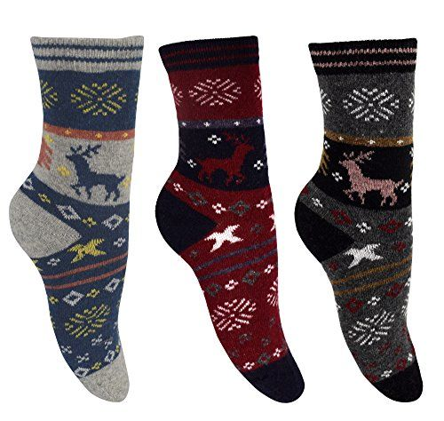 Warm Vintage Cotton Wool Knitting Colorful Crew Socks in Packs Black Red Blue