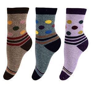 Warm Vintage Cotton Wool Knitting Colorful Crew Socks in Packs Purple Blue Brown