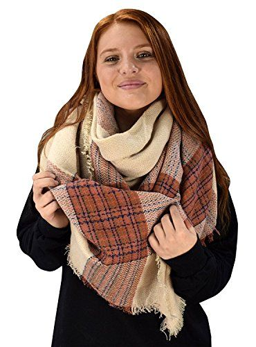 Warm Woven Oversized Striped Tartan Plaid Blanket Scarf Shawl