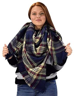 Warm Woven Oversized Tartan Plaid Blanket Scarf Shawl