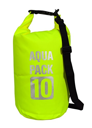 Green Waterproof Dry Pack Bag-Roll Top Dry Compression Sack Keeps Gear Dry Kayaking, Beach, Rafting, Boating, Hiking, Camping Fishing 10 Litre