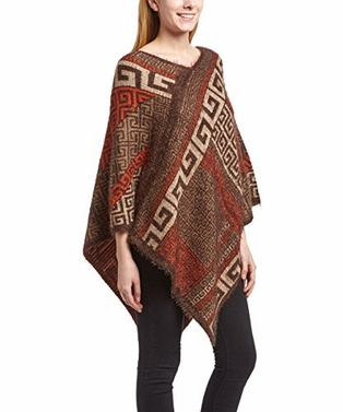 Orange Western Extra Soft Fuzzy Tribal Aztec Batwing Shawl Wrap Poncho