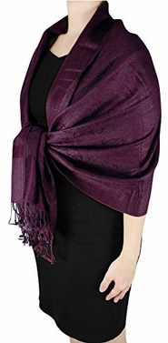 Wine Double Layer Jacquard Paisley Pashmina Feel Shawl Wrap Stole Scarf
