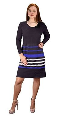 Black Blue Fine Gauge Stripe Sweater Dress