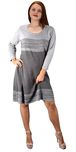Grey Fine Gauge Stripe Sweater Dress