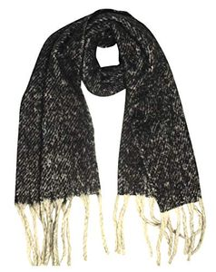Peach Couture Winter Soft and Warm Cashmere Feel Tasseled Knitted Chunky Wrap Scarf