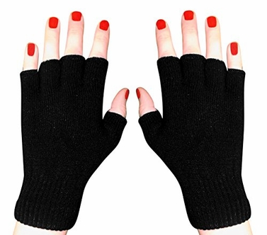 Black Winter Soft Knit Finger less Functional Flap Mitten Gloves Plain