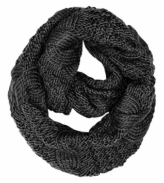 Black Winter Warm Cable Knit Chuny Infinity Loop Scarves