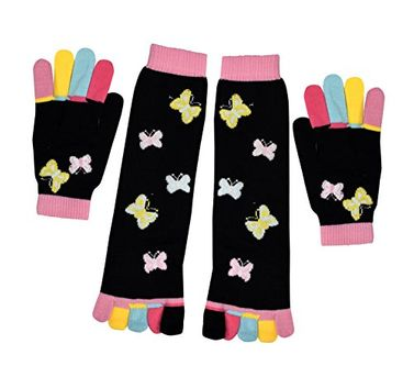 Winter Warm Colorful Toe Socks and Gloves Pack