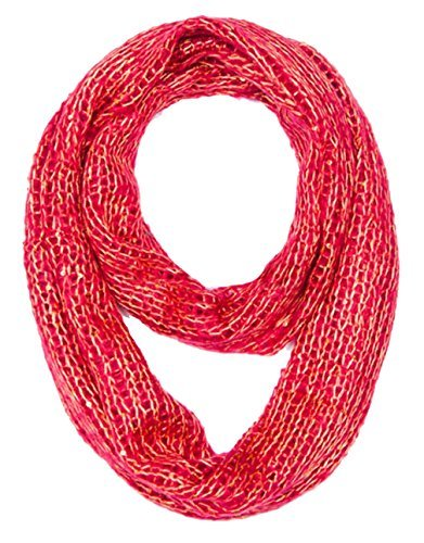 Red Winter Warm Cozy Sparkle Infinity Loop Cowl Scarves