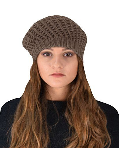 Taupe Winter Warm Double Layer Crochet Knit Beanie Slouchy Hat