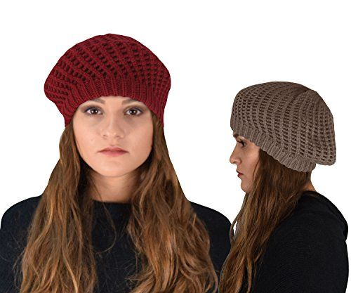 Warm Double Layer Crochet Knit Beret Beanie Slouchy Hat 2 Pack
