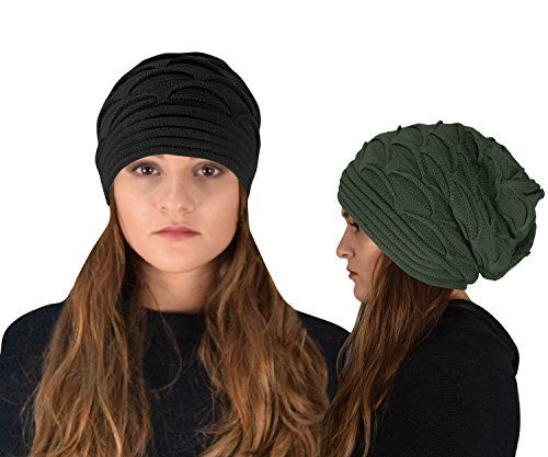 Winter Warm Soft Knitted Baggy Beanie Slouchy Hat Skull Cap 2 Pack
