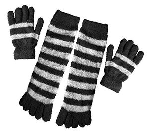 Peach Couture Winter Warm Striped Fuzzy Toe Socks and Gloves Pack