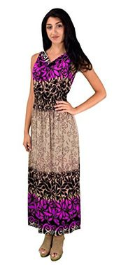 Fuchsia Women's Casual Vinatge Boho Sleeveless Floral Summer Long Maxi Dress