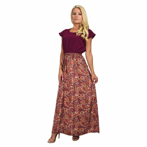 Burgundy Paisley Printed Maxi Dress