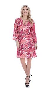 Coral 3 Quarter Sleeves Jeweled Tie Neck Summer Tunic Dress