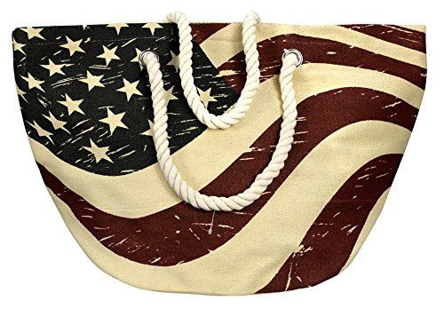 Women's All American Patriotic Flag Beach Summer Tote Travel Bag
