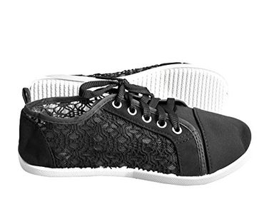 Peach Couture Women's Athletic Casual Ballet Sneakers Lace up Canvas Denim Shoes Black
