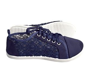 Navy Women's Athletic Casual Ballet Sneakers Lace up Canvas Denim Shoes
