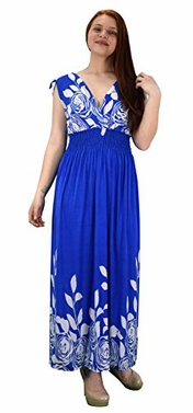 Blue White Rose Party Dress Sleeveless Smocked Waist Bohemian Summer Dress Maxi Dress Medium