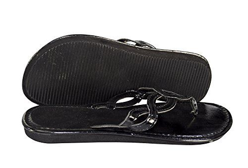Black Women's Braided Strap Thong Sandal Slip On Summer Classic Shoes
