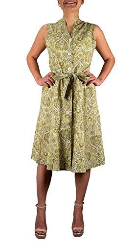 Olive Cotton Button up Shift Dress Fabric (Large)