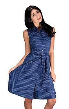 Nautical Navy 100% Cotton Button up Shift Dress