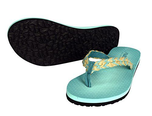 Teal Women's Casual Strappy Summer Slipper Shower Sandal Beach Flip Flops Chevron
