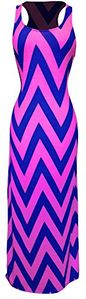 Pink-Navy Women's Chevron Boho Chic Maxi Spring Summer Dress 2 Tone (Medium)