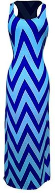 Multi Color Women's Chevron Boho Chic Maxi Spring Summer Dress 2 Tone X-Large