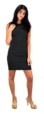 Black  Classic Cotton Slim Fit Sleeveless Bodycon Midi Dress Medium