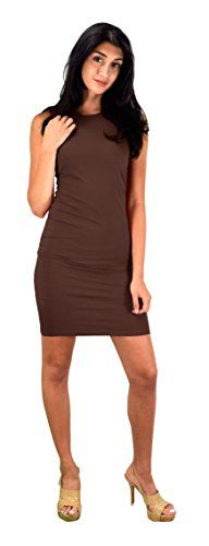Peach Couture Women's Classic Cotton Slim Fit Sleeveless Bodycon Midi Dress Brown