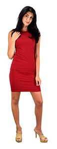 Red Classic Cotton Slim Fit Sleeveless Bodycon Midi Dress Small