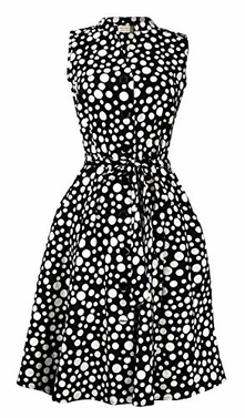 Black White Women's Collared Floral Sleeveless Knee Fit-and-Flare Dress Polka Dot