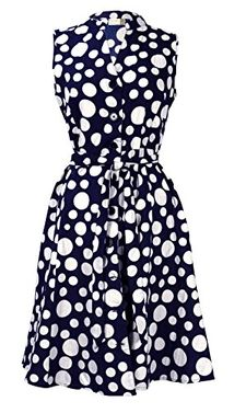 Navy White Women's Collared Floral Sleeveless Knee Fit-and-Flare Dress Polka Dot