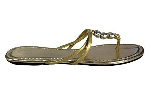 Gold Women's Cute Open Toe Beaded Thong Summer Flat Sandal Beach Shoes