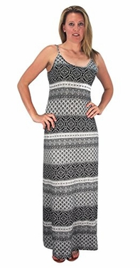 Black Women's Damask Spring and Summer Sleeveless Blouson Maxi Dress