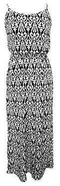 Black-White Women's Damask Spring and Summer Sleeveless Blouson Maxi Dress